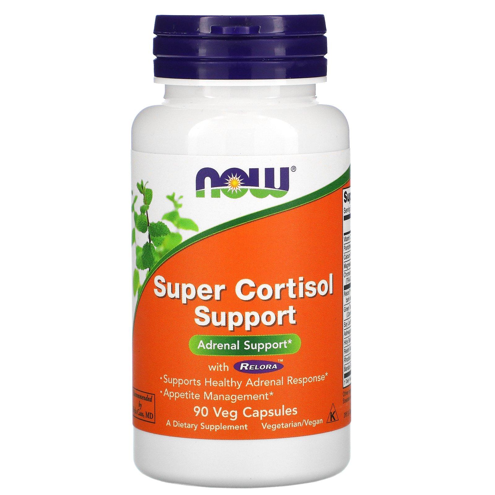Now Foods, Super Cortisol Support, препарат для поддержания уровня кортизола, 90 растительных капсул