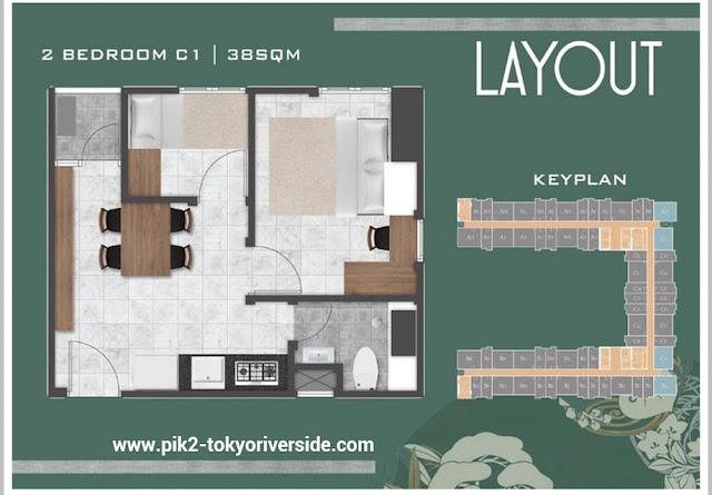 Denah Unit 2 BR PIK 2 Apartemen Tokyo Riverside