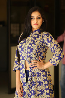 Mouryaani in Blue Anarkali Suit at LAW movie Success Meet