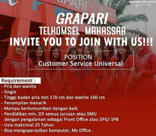 Lowongan Kerja Customer Service Universal Makassar