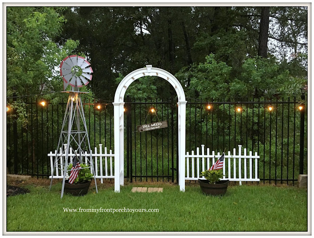 Backyard Landscape-Windmill-Cottage Garden-White picket fence- White Garden Arbor-From My Front Porch To Yours