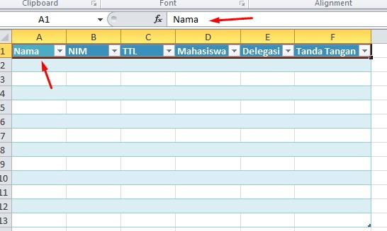 Cara Nama Header Tabel di Excel