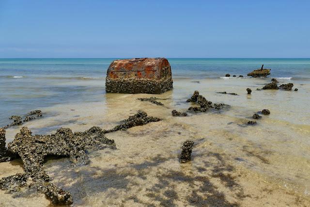 Normanby Schiff Wrack Wreck zerfallen muscheln muschelbesetzt Moreton Island Gerippe Kessel Schatzkiste Dampfschiff