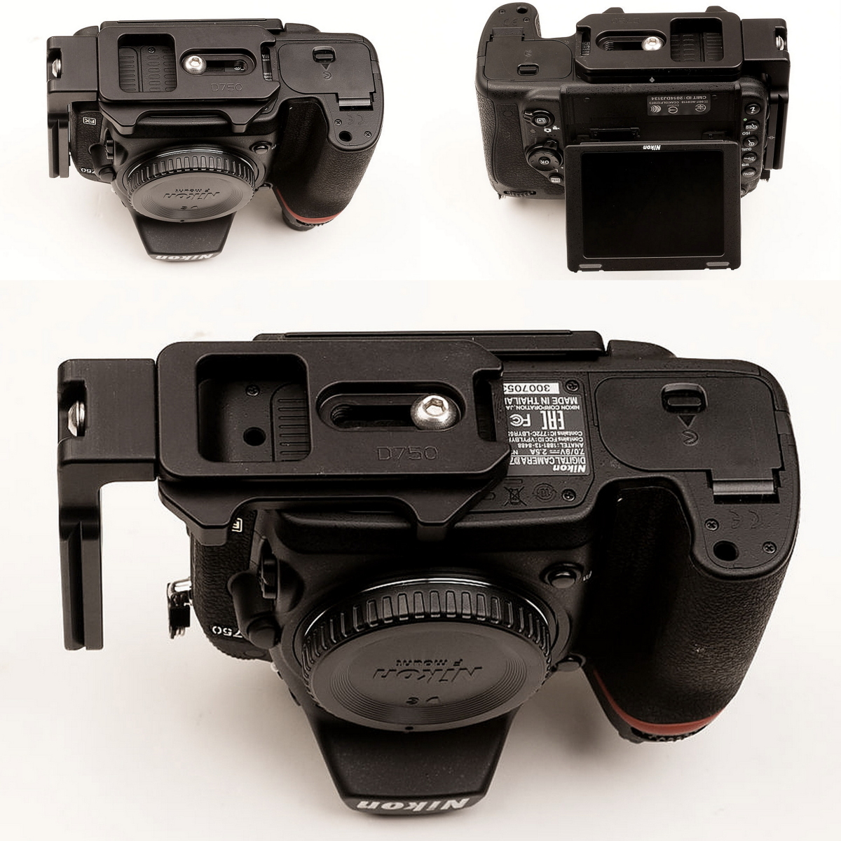 Hejnar PHOTO ND750 L bracket on Nikon D750 bottom views