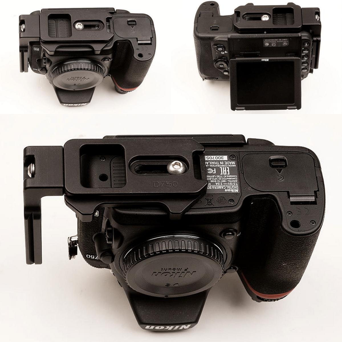 Hejnar PHOTO ND750 L bracket on Nikon D750 bottom views