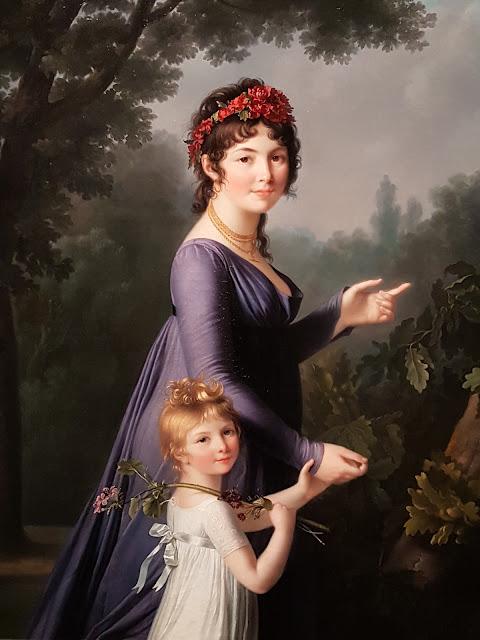 Portrait de Marie-Genevieve Lemoine avec sa  fille par Marie-Victoire Lemoine