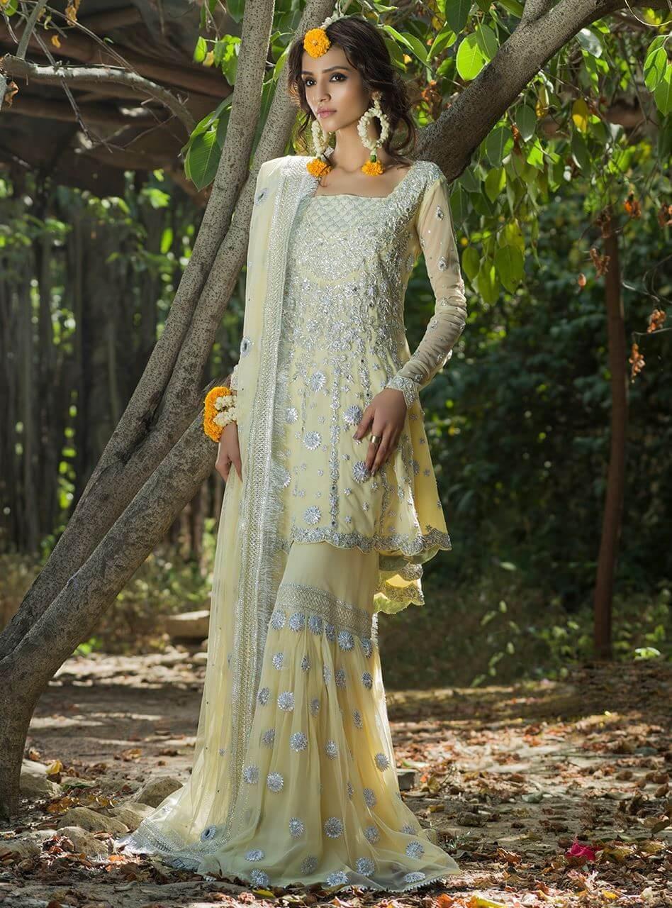 Lemon Yellow Zainab Chottani Mehndi Peplum