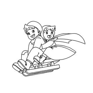 caricaturas Heidi y Pedro para colorear
