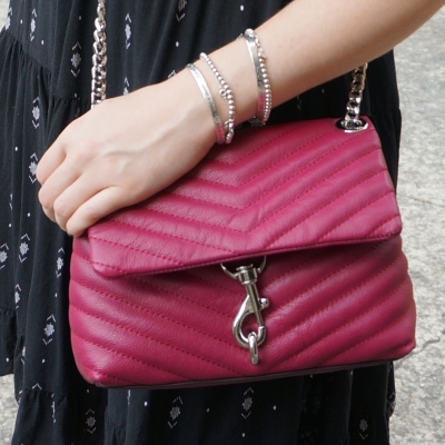 little black dress, Rebecca Minkoff Edie small crossbody bag in magenta | awayfromtheblue
