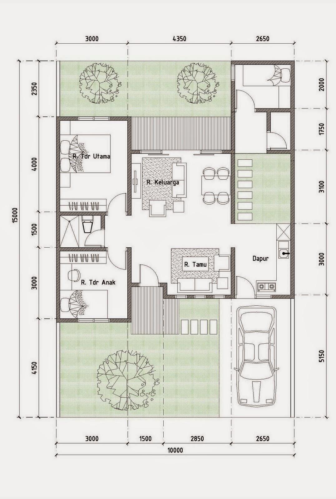 Denah  Rumah  Minimalis Type  70  1  Lantai  Terbaru 2019