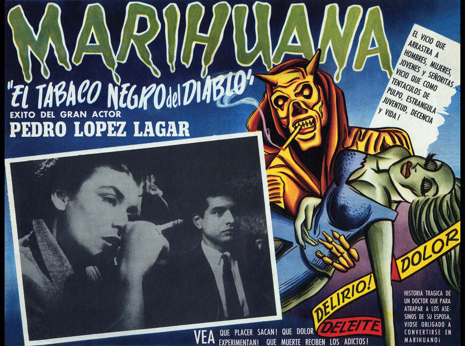 A poster for an Argentinian film about a respected surgeon whose wife dies of marijuana addiction. 1950.