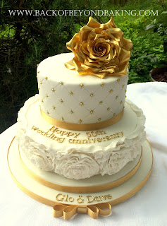 White ruffle rose and quilted 2 tier cake