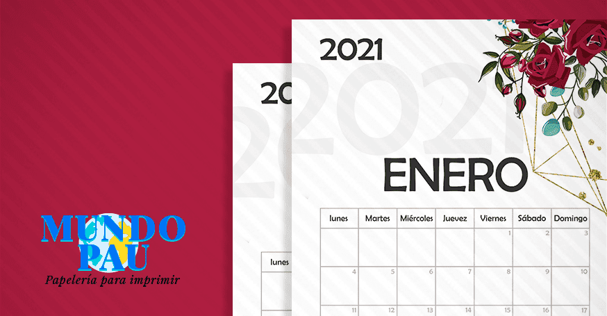 Calendario de rosas 2021 imprimible