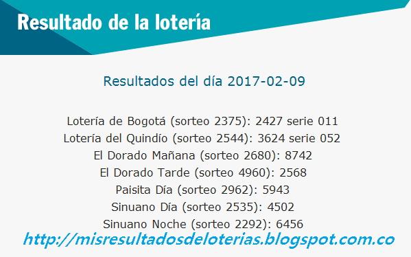 Loterias de Hoy - Resultados diarios de la Lotería y el Chance - Febrero 09 2017