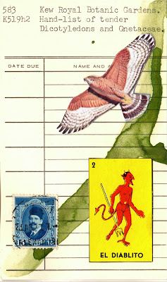 Foucault postage stamp El diablito devil demon mexican lottery card eagle hawk library card Dada Fluxus mail art collage