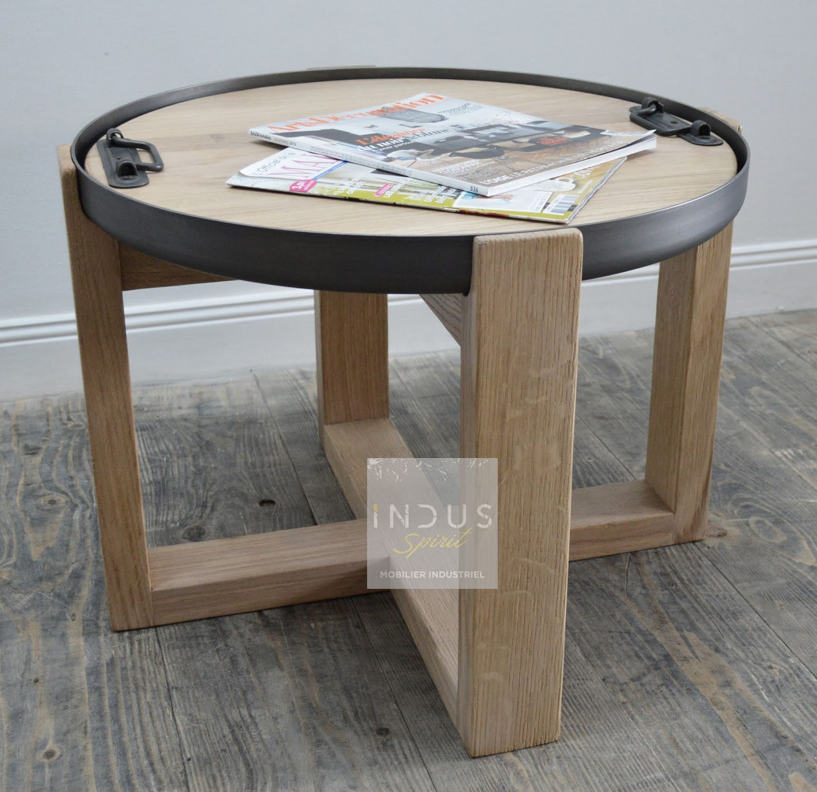 Table Basse Ronde Style Industriel Scandinave