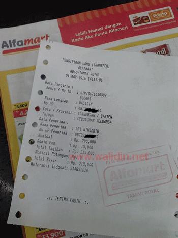 Biaya Transfer Lewat Alfamart
