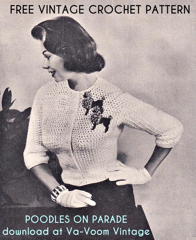 free vintage 1950s poodle cardigan crochet pattern