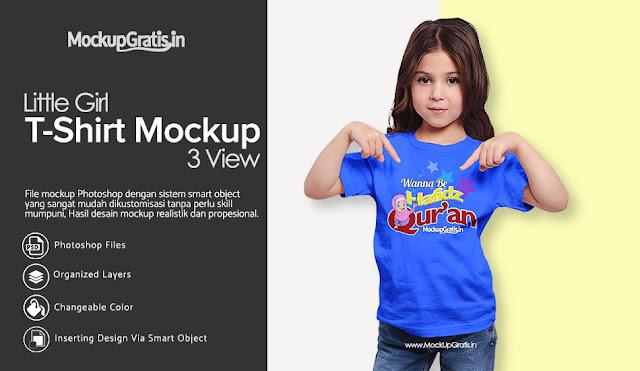 PSD Mockup Kaos Anak Perempuan Gratis
