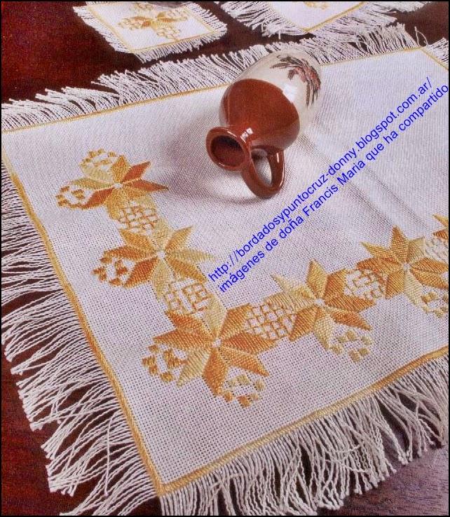 Bordados Y Punto Cruz Mantel O Individual Bordado En Punto Recto - Manteles-para-bordar