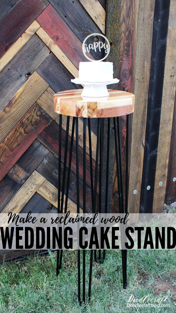 Learn how to make a reclaimed wood table top with tall hairpin legs for the perfect wedding cake stand. This rustic table is perfect for outdoor events or that indoor rustic charm. Wood table top is made from old pallets and recycled fence panels.