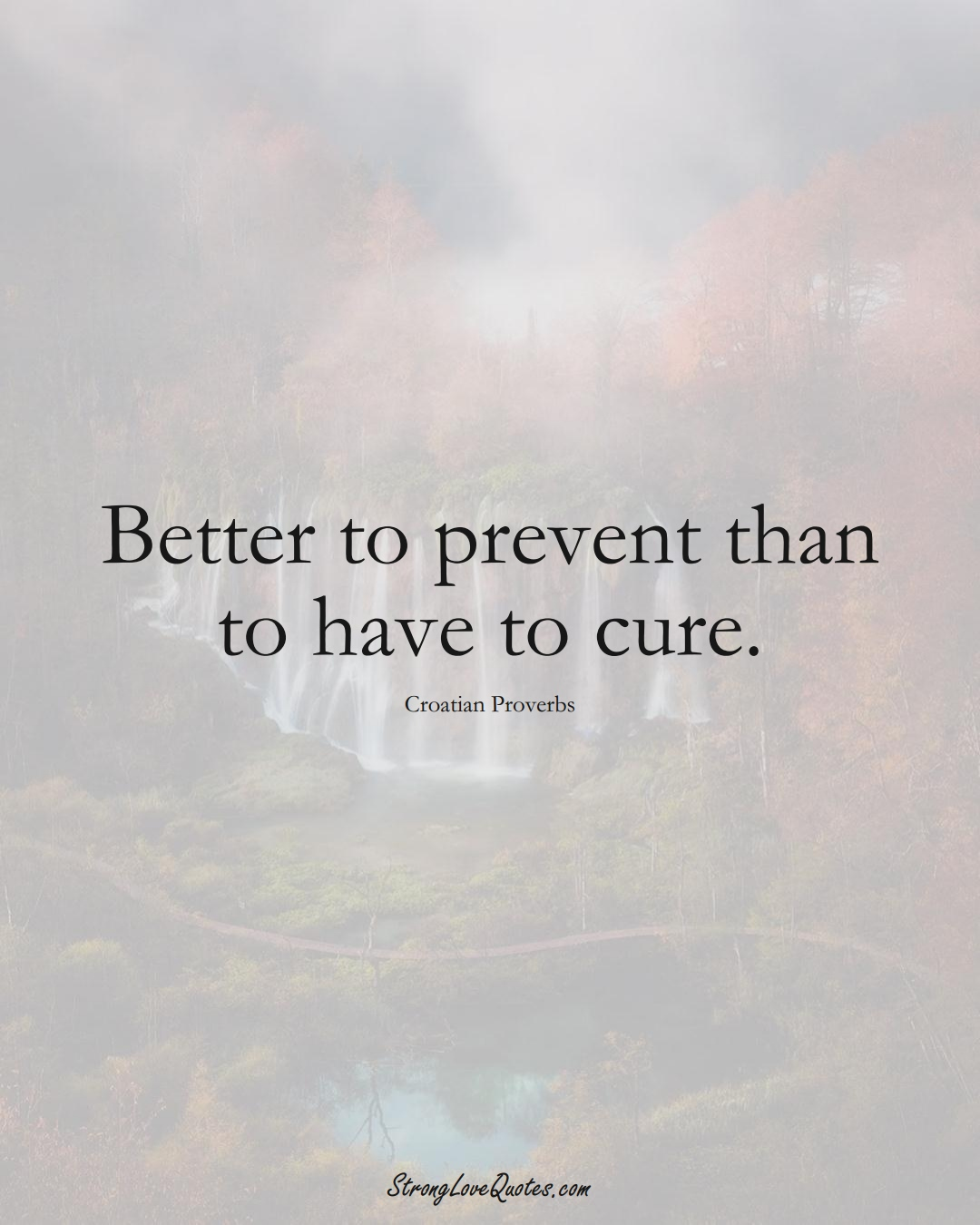 Better to prevent than to have to cure. (Croatian Sayings);  #EuropeanSayings