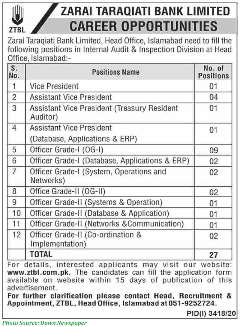ZTBL Jobs 2021 - Latest Jobs in Zarai Taraqiati Bank Limited January 2021 Apply Online for ZTBL Jobs 2021