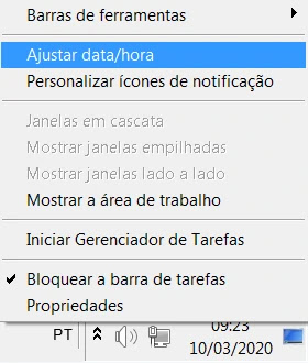 Windows 7 configuração data/hora