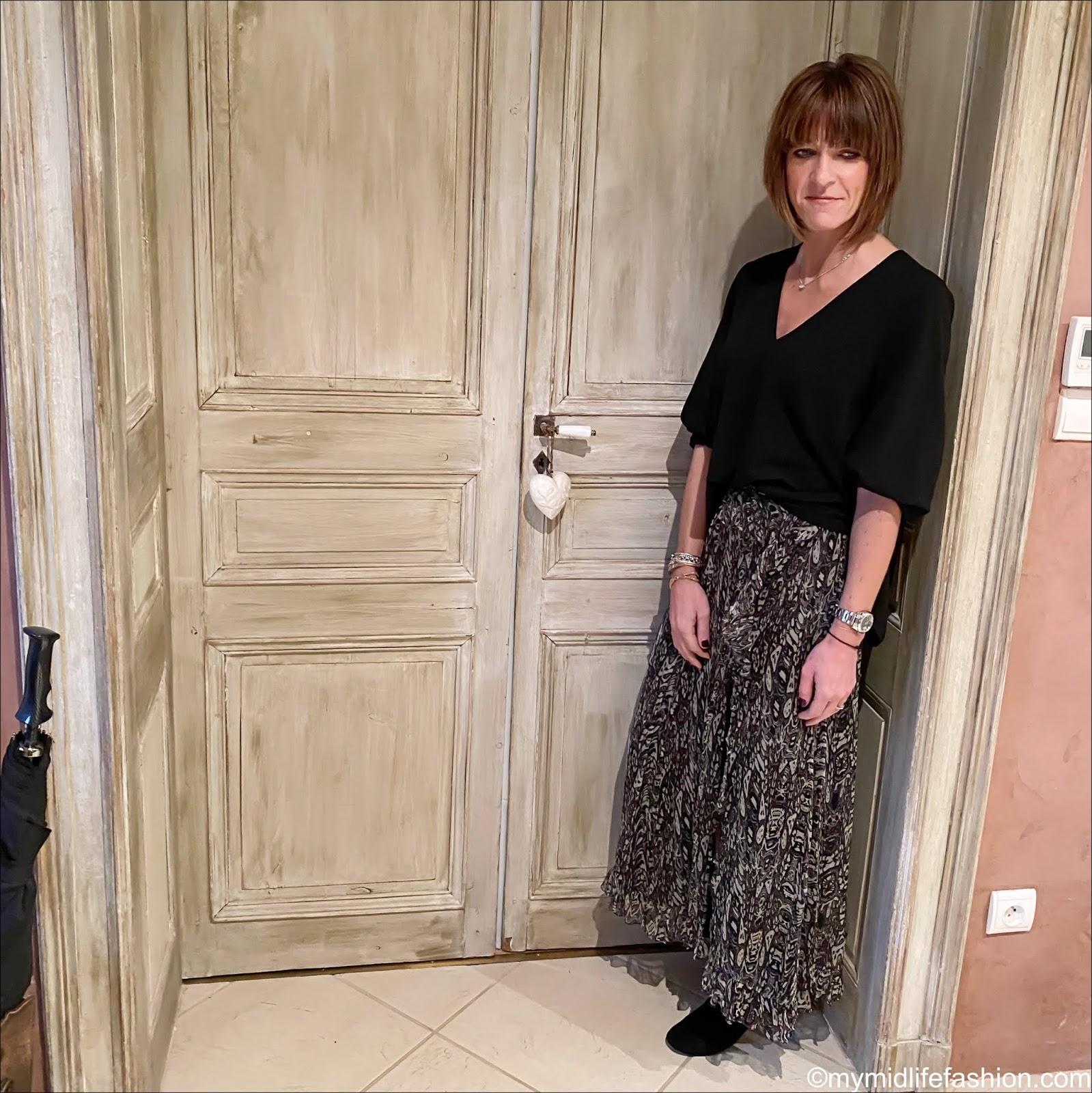 my midlife fashion, tibi v neck top, iro ruffle split maxi skirt, Isabel Marant goat suede ankle boots