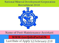National Mineral Development Corporation Recruitment 2018-44 Maintenance Assistant