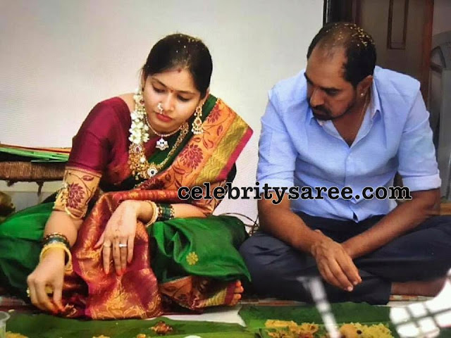 Krish wife Ramya Traditional Saree