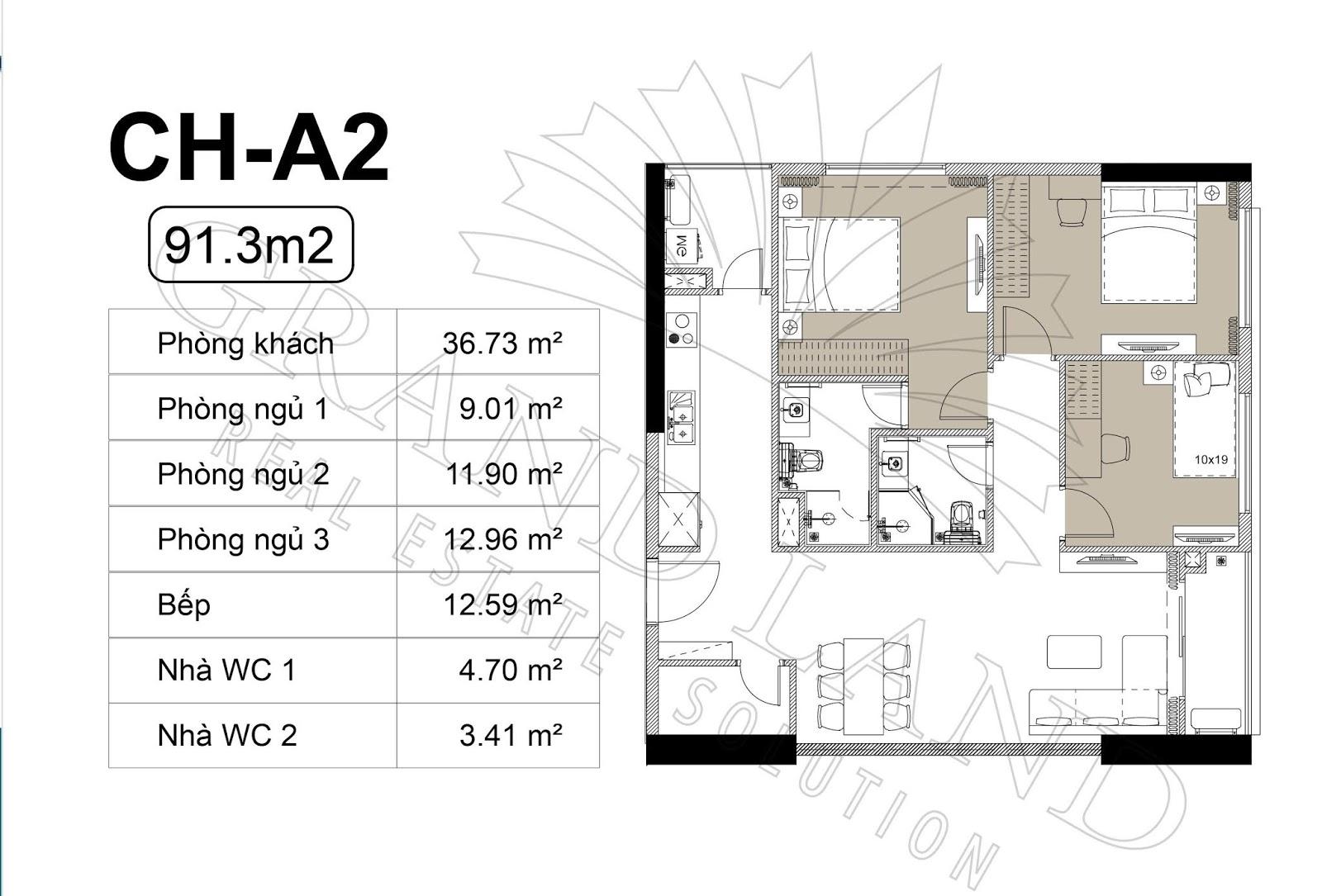 Thiết kế căn hộ 3PN 91m2 tại chung cư DLC Complex