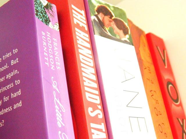 A photo showing a selection of novels: a little princess, the handmaid's tale, jane eyre, alias grace, vox
