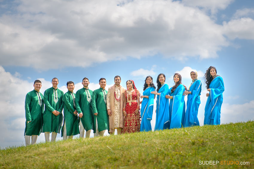 Indian Wedding Photography Bridesmaid attire saree Wedding Party at Eagle Crest Marriott SudeepStudio.com Ann Arbor South Asian Indian Wedding Photographer