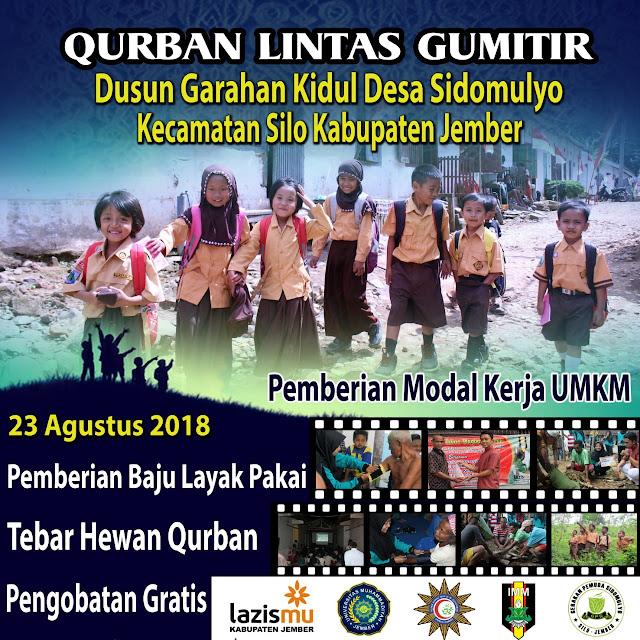 Qurban Lintas Gumitir bersama Lazismu Jember tahun 2018