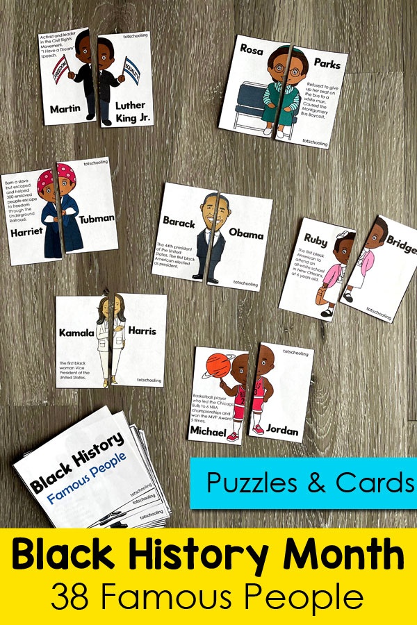 FREE printable cards with 38 famous people in black American history. Great for many ages to learn about Black History Month.