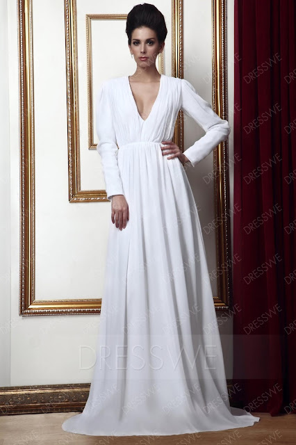 Long-Sleeves V-Neckline Floor-Length Taline's Mother of Bride Dress