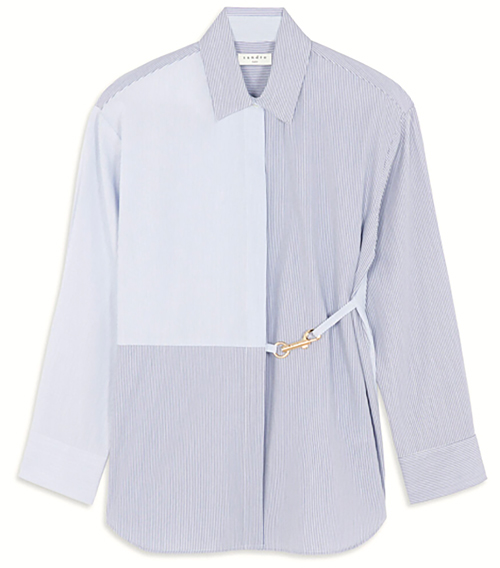 sandro stripy shirt with snap hook