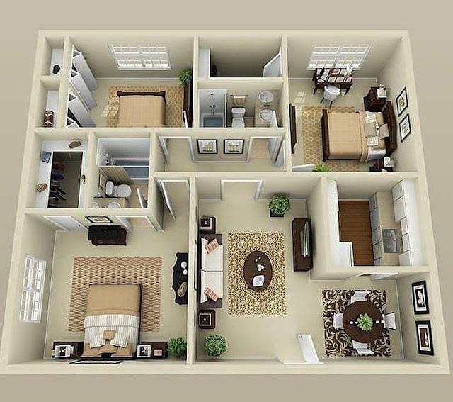 Denah Rumah Minimalis Type 36 dengan 3 Kamar Tidur Terbaru
