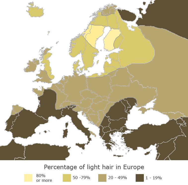Percentage of light hair in Europe