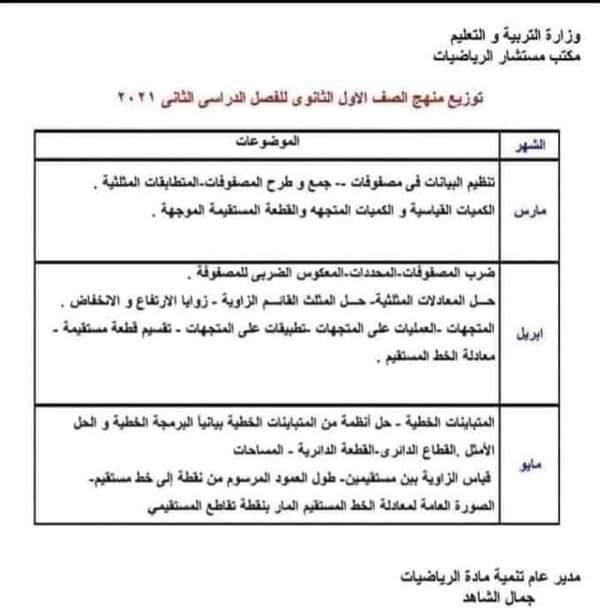 توزيع مناهج الصفين الأول والثانى الثانوى الترم الثاني 2021 بعد التعديل  FB_IMG_1615593998211