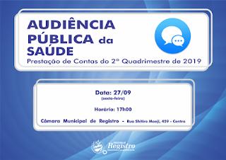 Saúde presta contas do 2º quadrimestre em Audiência Pública