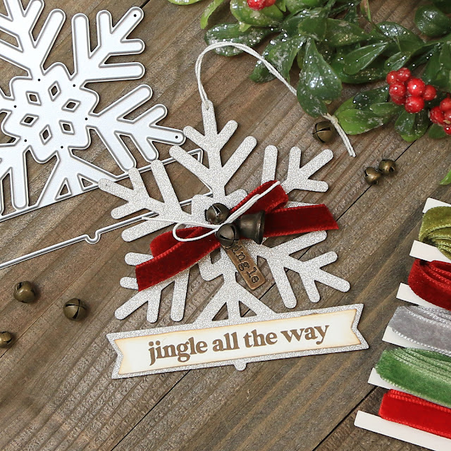 Jingle All The Say Snowflake Tag by Juliana Michaels featuring Scrapbook.com Snowflake Winter Wishes Die