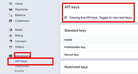 Select API keys