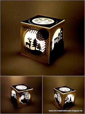 Kleine LED-Leucht-Box mit Winterwald, Weihnachtssocken, Rentier und Schneeflocke Stampin' Up! www.eris-kreativwerkstatt.blogspot.de