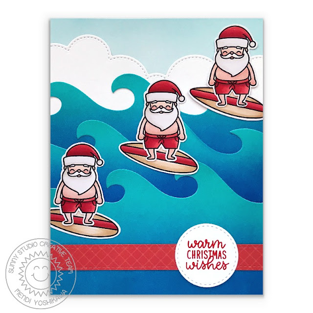 Sunny Studio Stamps Santa Claus Riding Wave with Surf Board Warm Christmas Wishes Handmade Holiday Card (using Surfing Santa Stamps, Slimline Nature Border Dies, Slimline Basic Border Dies & Staggered Circle Dies)