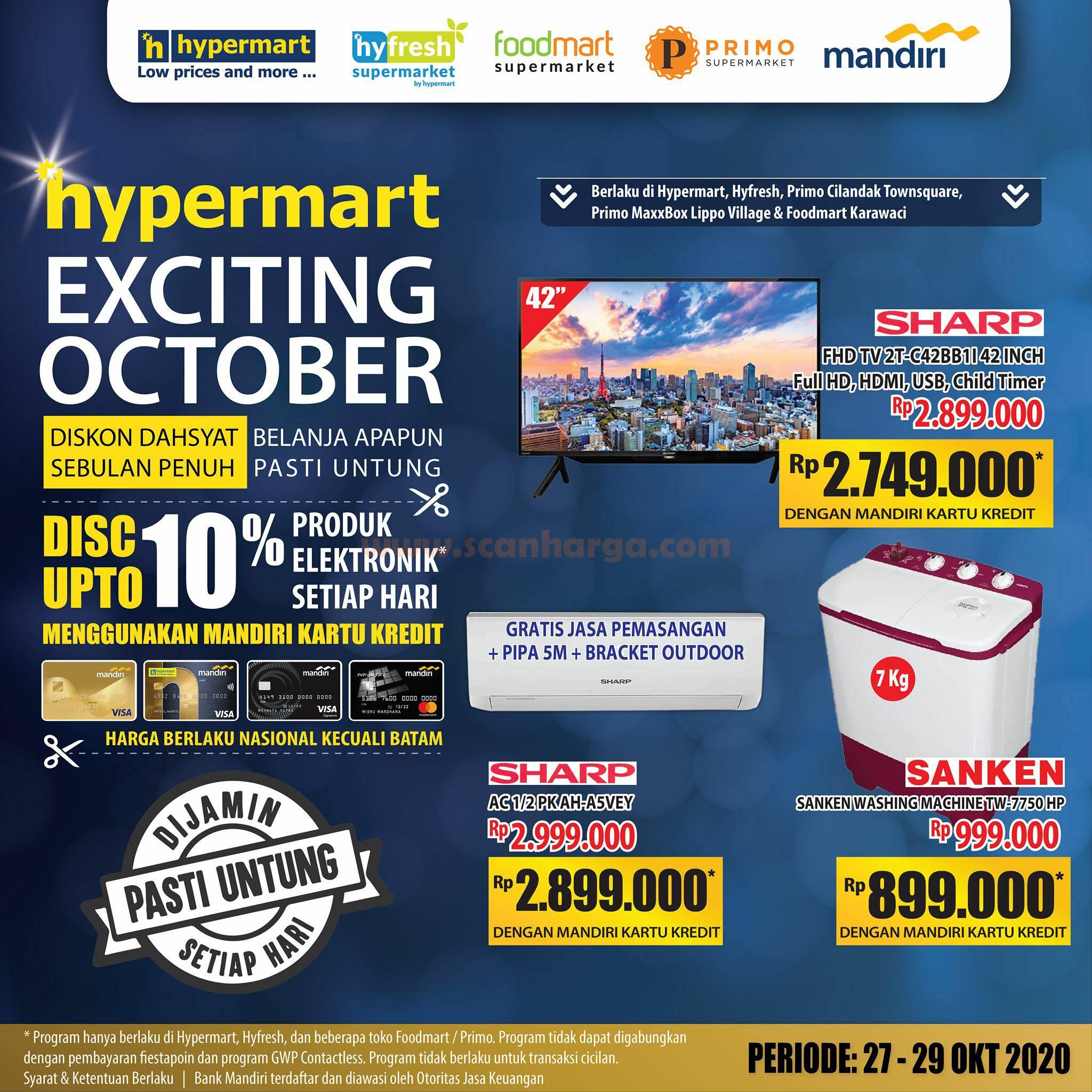 Promo Hypermart Exciting Oktober Diskon 10% produk Elektronik dengan Kartu Kredit Mandiri