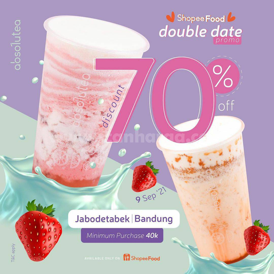 Promo ABSOLUTEA DOUBLE DATE Diskon 70% via ShopeeFood