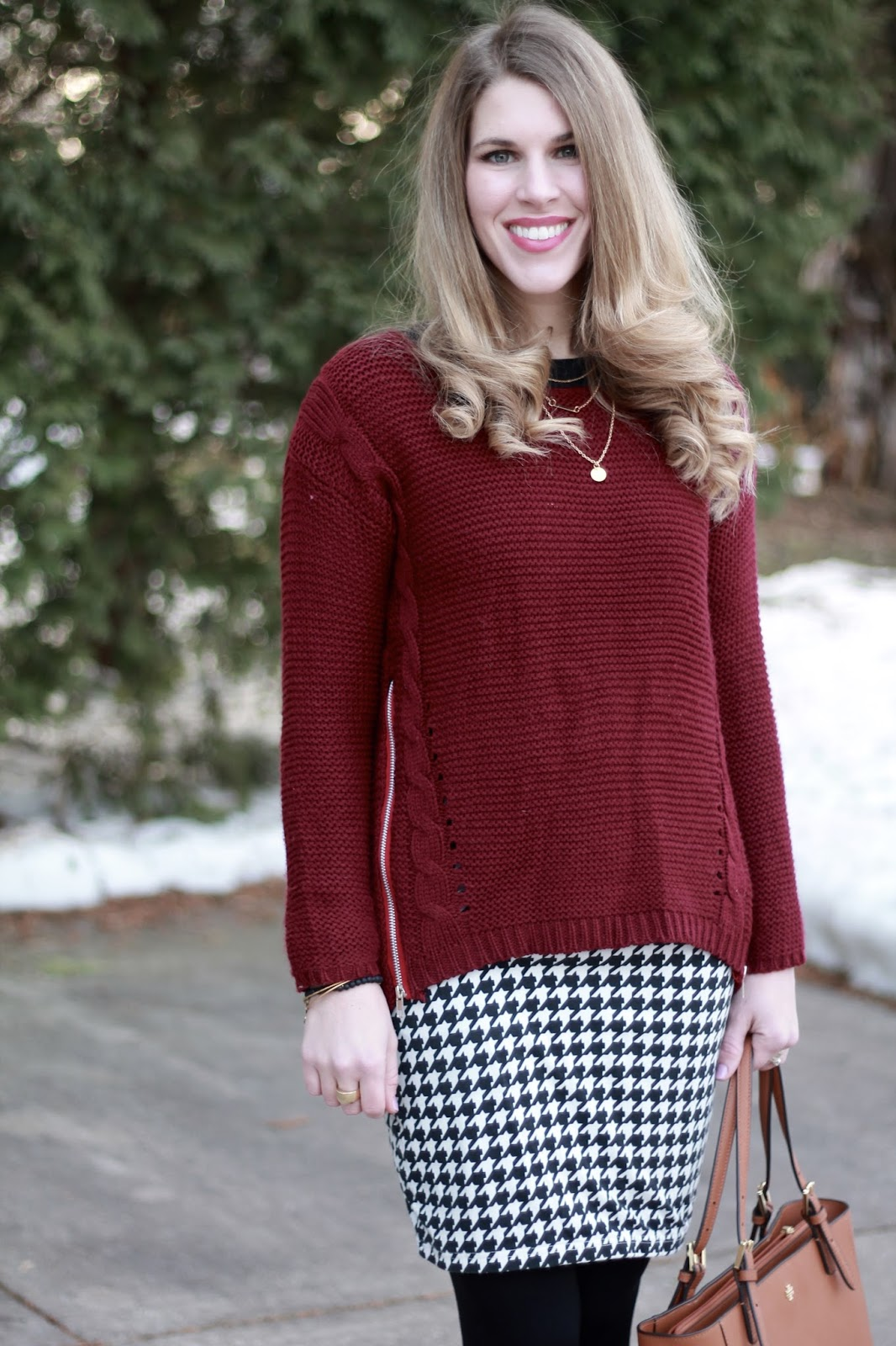 burgundy sweater, houndstooth pencil skirt, cognac riding boots, Tory Burch tote