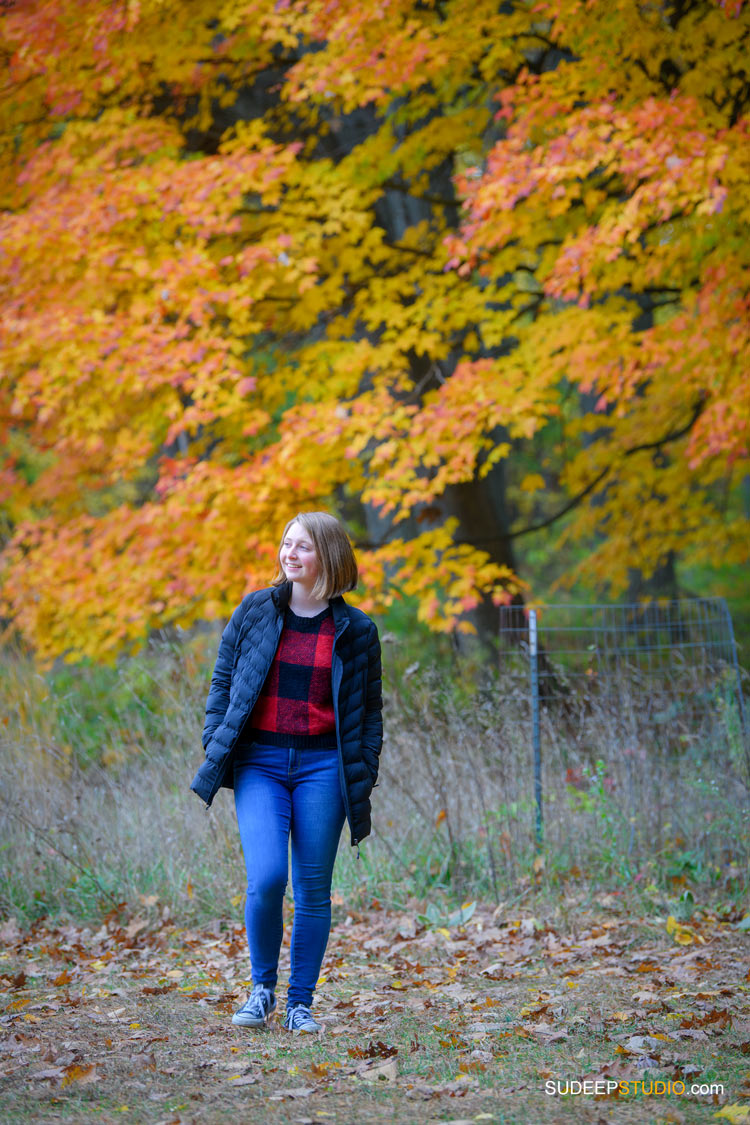 Ann Arbor Senior Pictures for Girls Skyline School in Nature Fall Colors Ann Arbor Senior Portrait Photographer